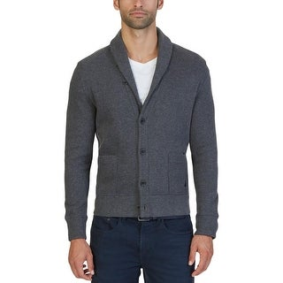 Nautica Mens Cardigan Sweater Pocket Long Sleeves - M