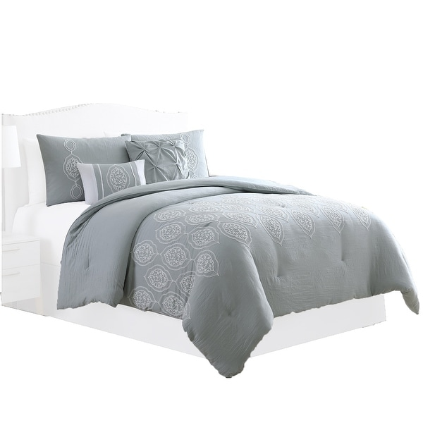 Ohio 5 Piece Queen Comforter Set with Scrolled Motifs, Gray and White by The Urban Port. Opens flyout.