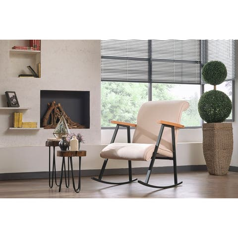 Yalef Upholstered Metal Frame Rocking Chair