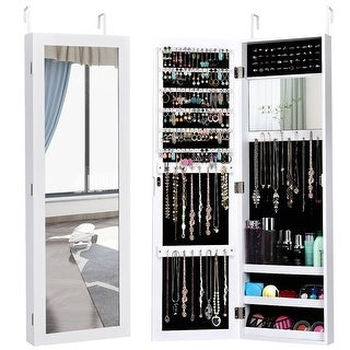 Link to Costway Wall Door Mounted Mirrored Jewelry Cabinet Storage Organizer Similar Items in Bedroom Furniture