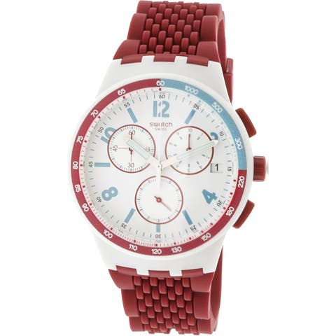 Swatch Men's Red Track Silicone Quartz Fashion Watch