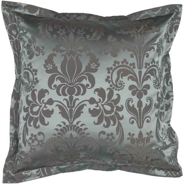 "18"" Royal Jewel Ice Blue and Ash Gray Decorative Throw Pillow Down Filler"