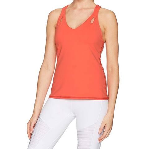 Trina Turk Orange Womens Size Small S Strappy Back V-Neck Tank Top