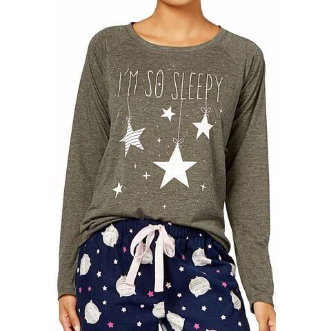 a136d94eb1a4 Jenni by Jennifer Moore Women's Graphic-Print Pajama Top So Sleepy Charcoal Size  Small -