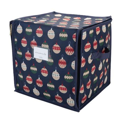 Laura Ashley Ornament Print Design 64 Count Stackable Christmas Ornament Storage Box