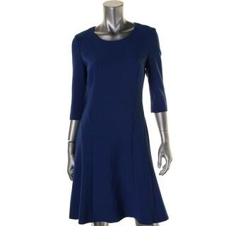 Hugo Boss Womens Dasona 3/4 Sleeves Knee Length Wear to Work Dress - 4