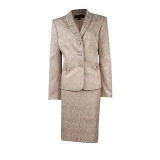 Tahari Women's Textured Sequin Shawl Collar Skirt Suit