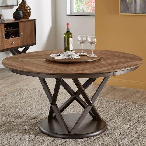 Priya Lazy Susan Turntable Espresso and Walnut Dining Table by iNSPIRE Q Modern