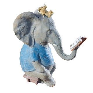 """Art & Artifact Reading Elephant and Squirrel Sculpture - 10"""" Tall Figurine - 10 in."""