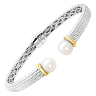 Hinged Freshwater Pearl Cuff Bracelet in Sterling Silver & 14K Gold