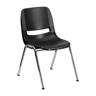 "Offex HERCULES Series 440 lb Capacity Black Ergonomic Shell Stack Chair with Chrome Frame and 14"" Seat Height"