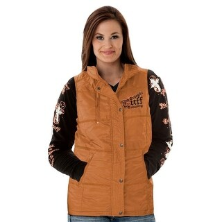 Cowgirl Tuff Western Vest Womens Embroidery Zip Copper Metallic H00518