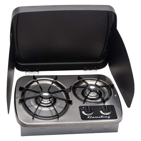 LP Gas Drop-In 2 Burner RV Cooktop Stove Stainless Steel includes Cover