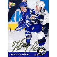 Signed Borschevsky Nikolai Toronto Maple Leafs 1992 Upper Deck Hockey Card autographed