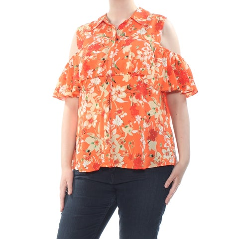 NY COLLECTION Womens Orange Cold Shoulder Ruffled Floral Collared Button Up Wear To Work Top Size: XL
