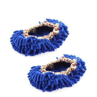 Pair House Floor Polishing Dusting Cleaning Foot Socks Shoes Mop Slippers Blue