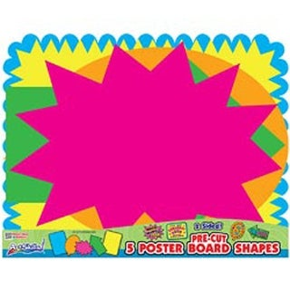 "Bright Neon Colors - Pre-Cut Posterboard Shapes 22""X28"" 5/Pkg"