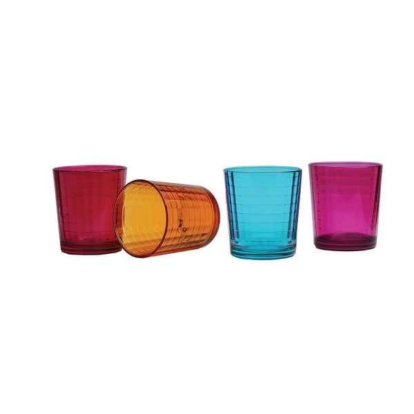 Palais Glassware Vitre Collection; High Quality Glass Beverage Set (Set of 4 - 13 Oz DOF Glasses, Fuschia/Blue/Orange/Purple)