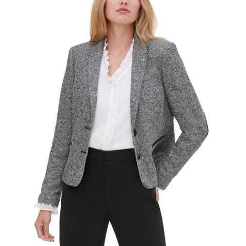 Tommy Hilfiger Womens Two-Button Blazer Marled Business - Navy