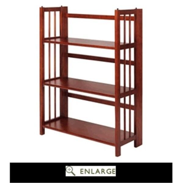 3 Shelf Folding Stackable Bookcase Mahogany