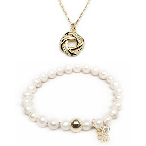 Freshwater Pearl Bracelet & Love Knot Gold Charm Necklace Set
