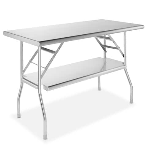 48 x 24 Inch NSF Stainless Steel Folding Table With Shelf by GRIDMANN
