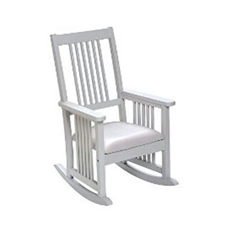 Mission Style Childrens Rocking Chair with Upholstered Seat - White