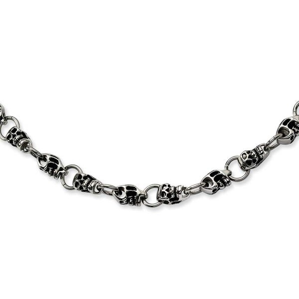 Chisel Stainless Steel Skull Necklace (12 mm) - 24 in