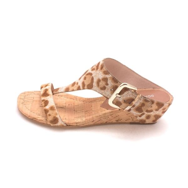 Donald J Pliner Womens LI4-SG Leather Open Toe Casual T-Strap Sandals - tan/sand summer leopard - 7
