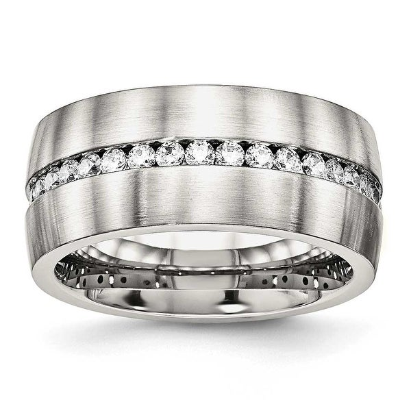 Stainless Steel Brushed and Polished CZ Ring (10 mm)