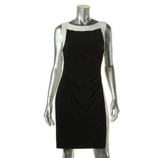 Lauren Ralph Lauren Womens Petites Matte Jersey Two Tone Wear to Work Dress