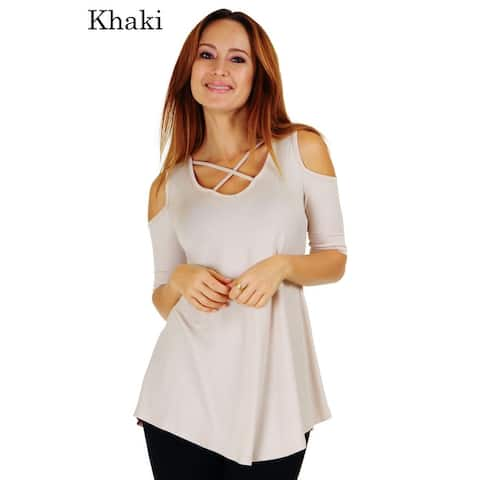 Simply Ravishing Women's Cold Shoulder Criss Cross Neck Half Sleeve Top (Size: S-5X)