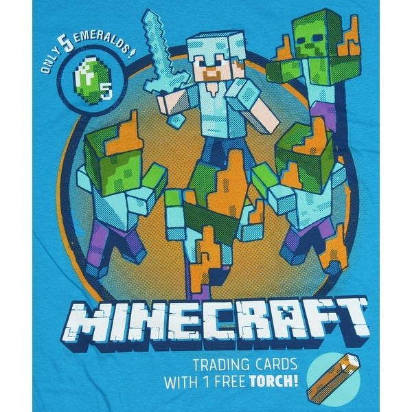 Minecraft Shirt for Boys with Steve Battling Zombies