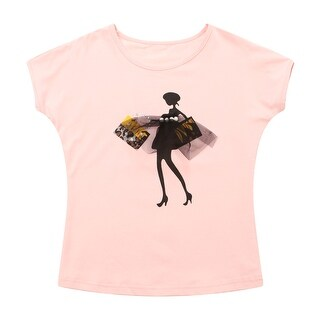 Richie House Girls' Fashion T-shirt with Girl Print and Pearls