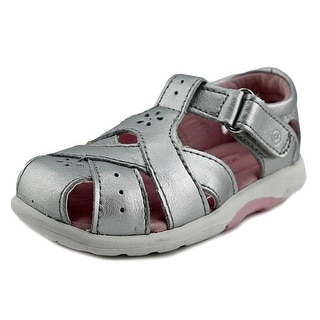 Stride Rite Tulip Toddler W Round Toe Leather Silver Fisherman Sandal