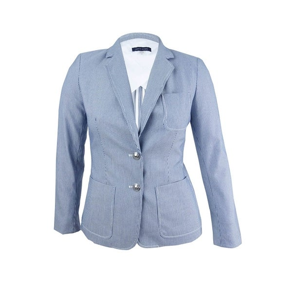 0d7a471fa6be6a Shop Tommy Hilfiger Women's Patch Pocket Two Button Jacket (10,  Midnight/Ivory) - midnight/ivory - 10 - Free Shipping On Orders Over $45 -  Overstock - ...