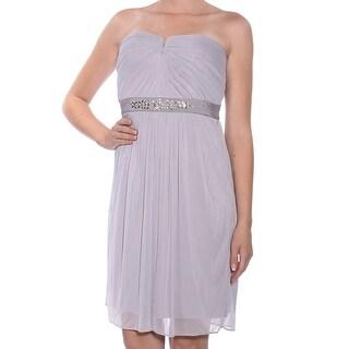 ADRIANNA PAPELL Silver Sleeveless Above The Knee Sheath Dress  Size 8