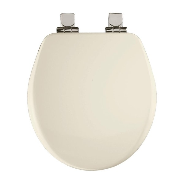 Bemis 9170CHSL Round Close-Front Toilet Seat with Chrome Hinges and Lid with Whisper-