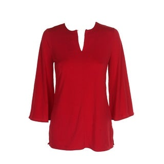 Lauren Ralph Lauren Red Bell-Sleeve Keyhole Tunic XS