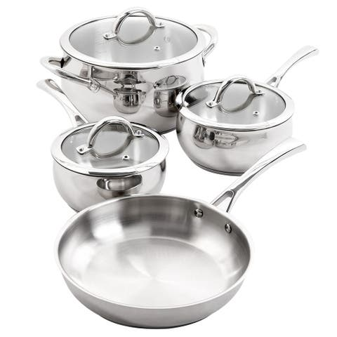 Oster 7 Piece Brushed Stainless Steel Cookware Set