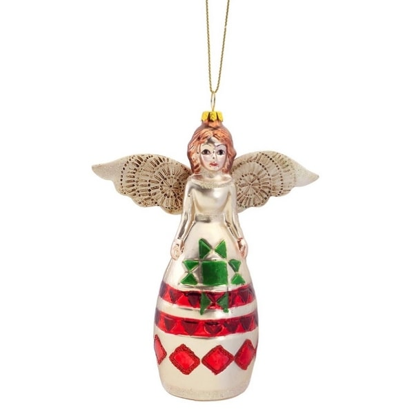 Pack of 6 Southwest Style Angel Glass Christmas Ornaments 5""