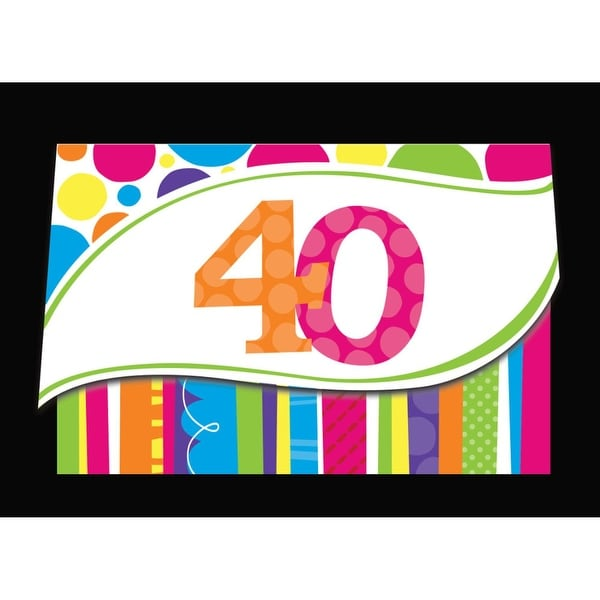 Shop Club Pack Of 48 Bright And Bold 40th Birthday Party Paper