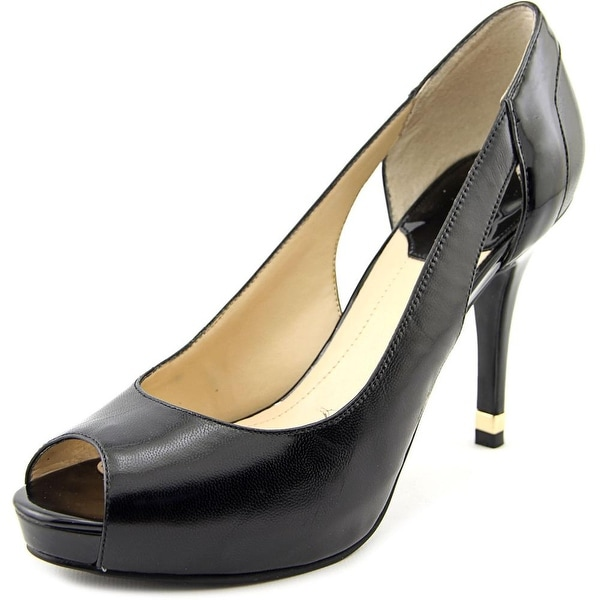 Marc Fisher Bross Women Peep-Toe Leather Black Heels