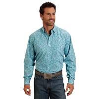 Stetson Western Shirt Mens L/S Print Button Blue
