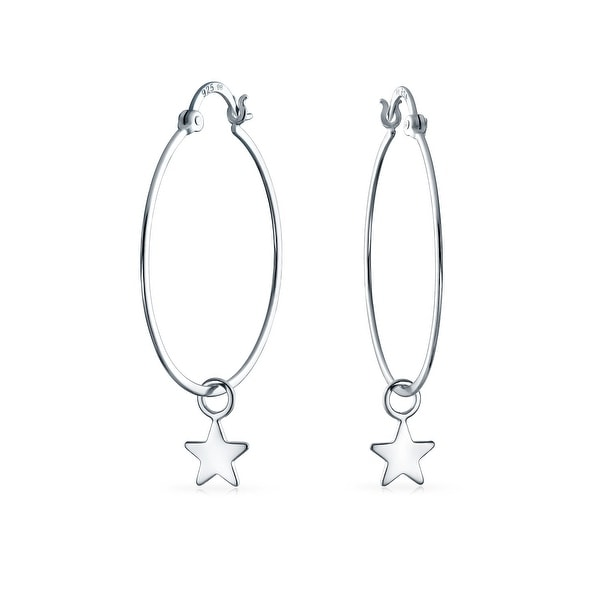 9ab2dc078 Celestial Patriotic Star Dangle Charm Round Tube Thin Big Hoop Earrings for  Women Shiny 925 Sterling