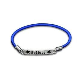 Autism and Aspergers Believe Stretch Charm Bracelet - Blue
