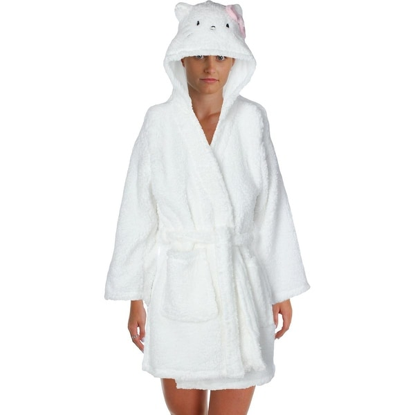 Hello Kitty Womens Juniors Bow City Short Robe Plush Hooded