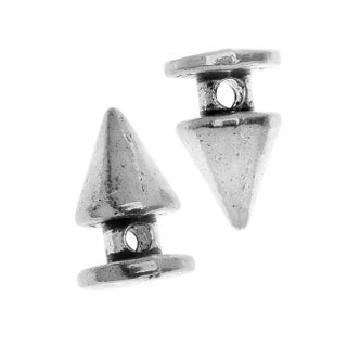 Lead-Free Pewter Beads, Flat Bottom Spikes 8x12mm, 6 Pieces, Antiqued Silver