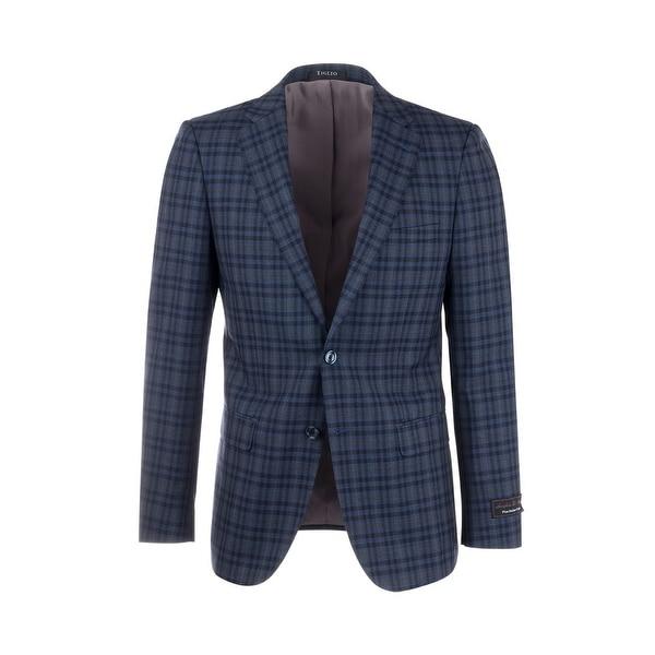 Shop Porto Blue with Black and Gray Windowpane Check Pattern Slim ... 30c47c676