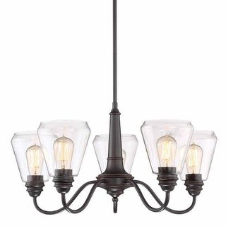 """Designers Fountain 90285 Foundry 5 Light 27"""" Wide Single Tier Shaded Chandelier"""